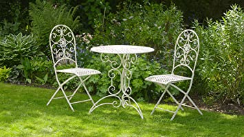 white metal outdoor furniture. Antique White Metal 3 Piece Bistro Style Garden Patio Furniture Set ~ Lucia Outdoor