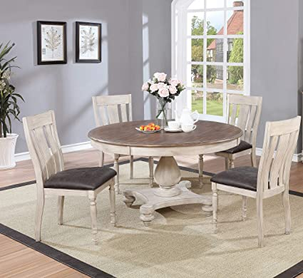 Superbe Arch Weathered Oak Dining Set: Round Table, Four Chairs