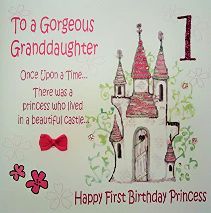 WHITE COTTON CARDS To A Gorgeous Granddaughter Handmade Large 1st Birthday Card Fairy Tale Princess Castle Code XGL4 Amazoncouk Kitchen Home