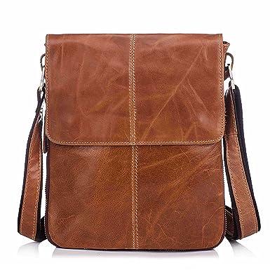 Men s Genuine Leather Crossbody Bag Retro Small Satchel Messenger Shoulder Purse with Flap