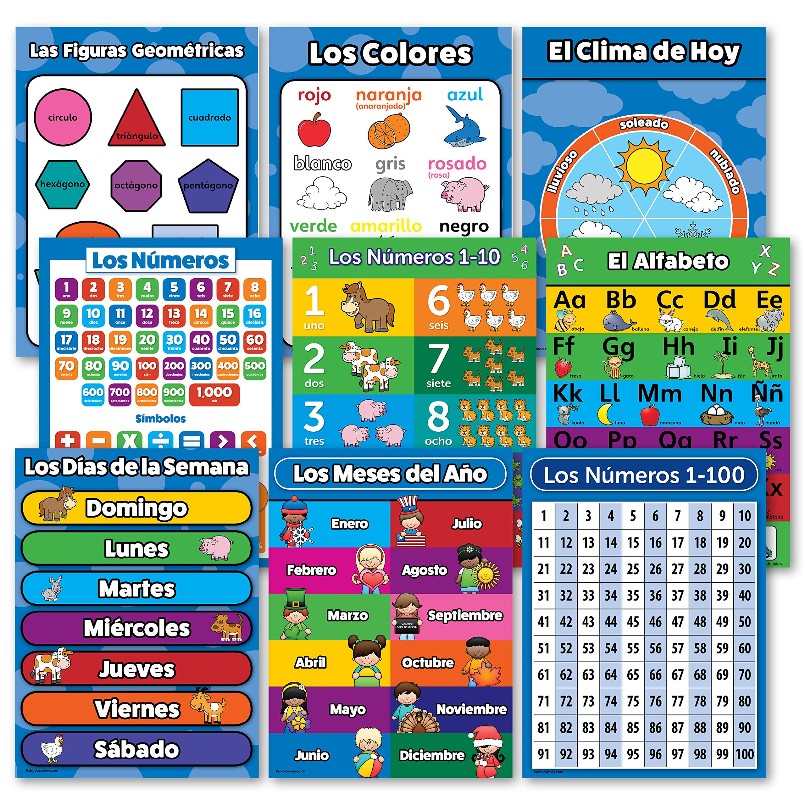 Spanish Toddler Learning Poster Kit - 9 Educational Preschool Charts, ABC - Alphabet, Numbers 1-10, Shapes, Colors, Numbers 1-100, Days of the Week, Months of the Year, Español Alfabeto - Abecedario