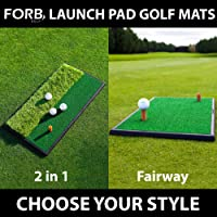 Net World Sports FORB Launch Pad Golf Practice Mat (2-in-1 Fairway/Rough) (60cm x 30cm) – Mini Golf Mat Combining Realistic Fairway & Semi-Rough Lies