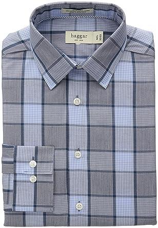 011510246bf Haggar Men s Mechanical Stretch Medium Glen Plaid Fancy Poplin Long Sleeve  Shirt