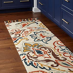 "Stone & Beam Swirling Paisley Farmhouse Motif Wool Runner Rug, 2' 6"" x 8', Multi"