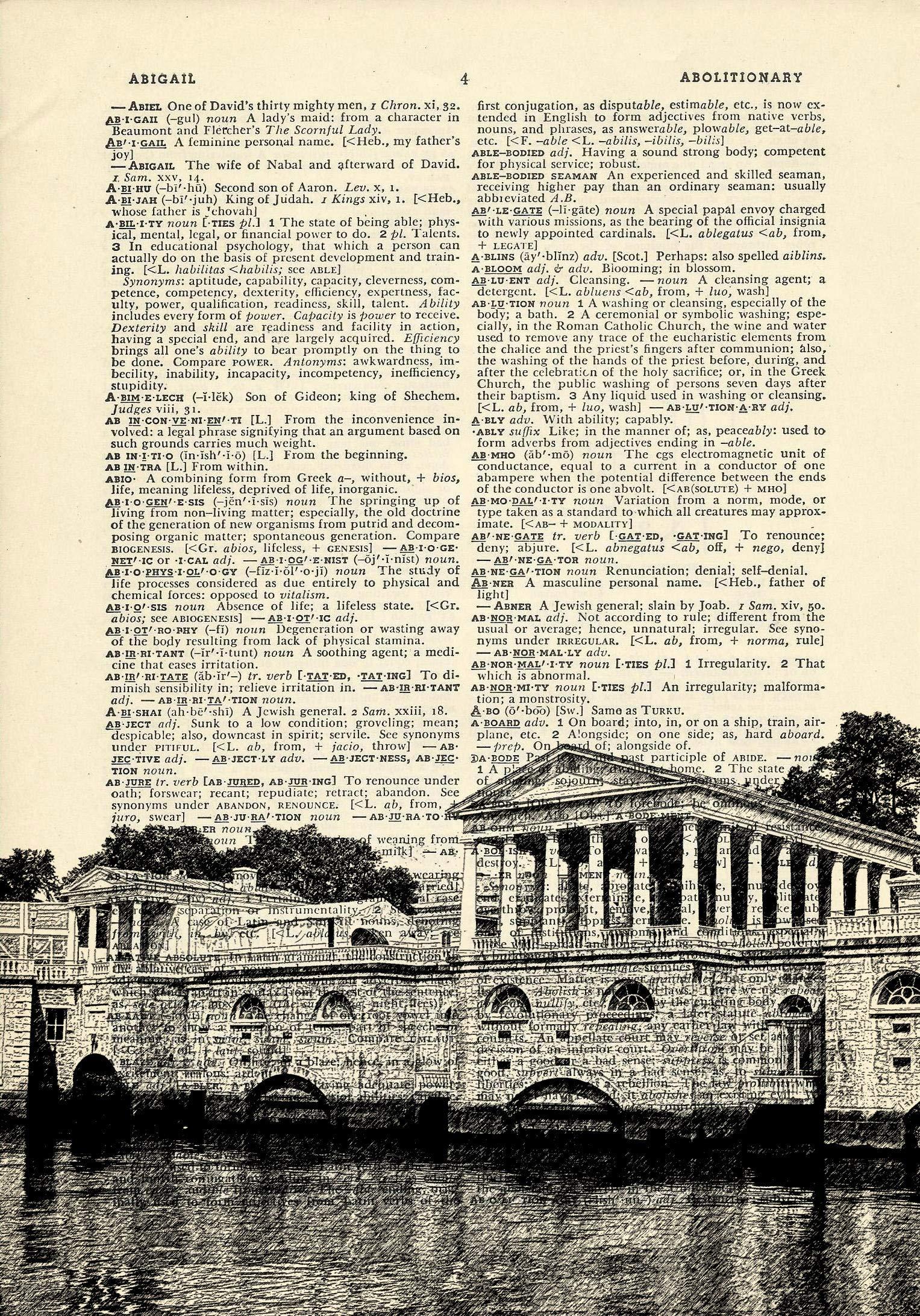 Fairmount Water Works Philadelphia Printed on Dictionary Paper