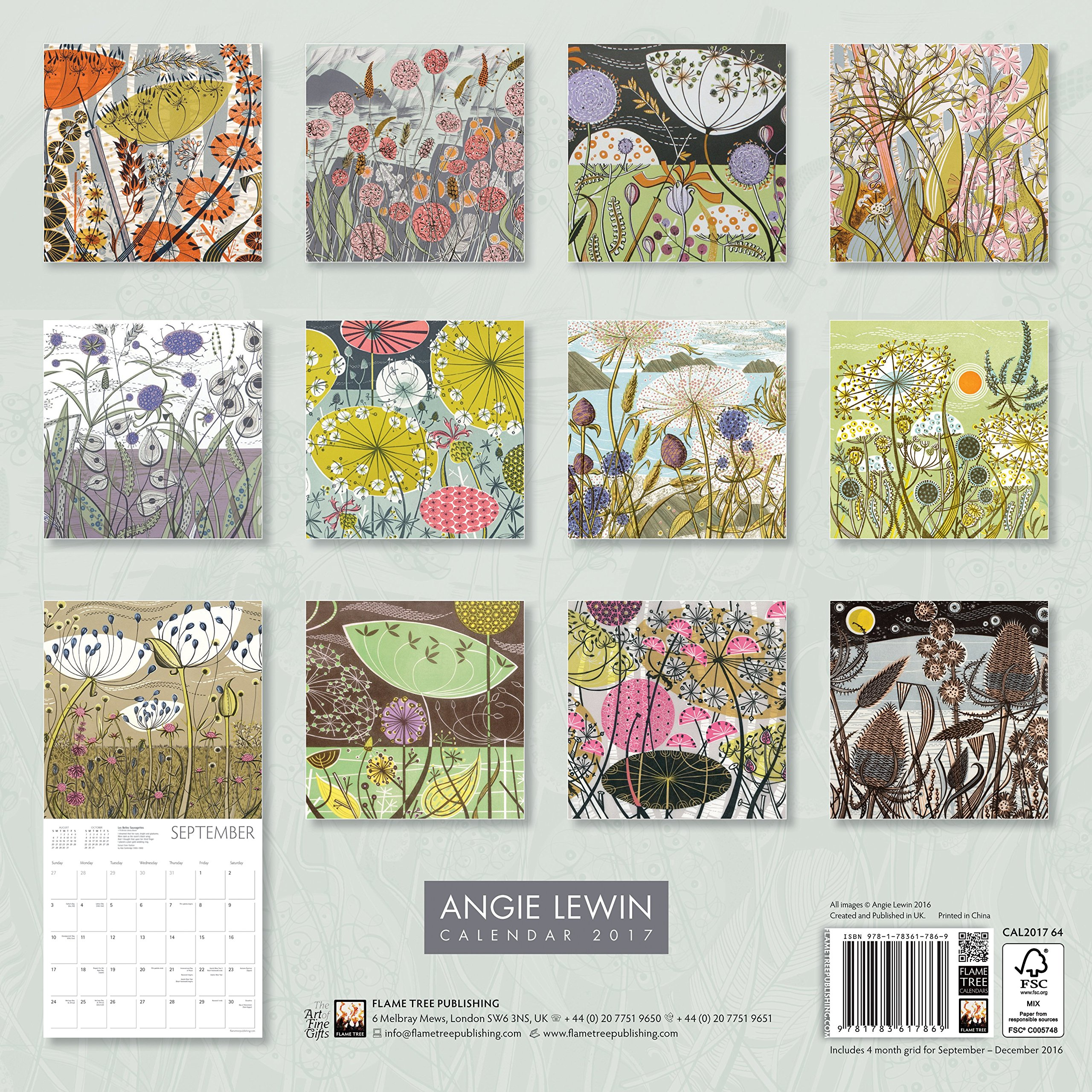 Angie Lewin Wall Calendar 2017 Art Calendar 9781783617869 Amazon