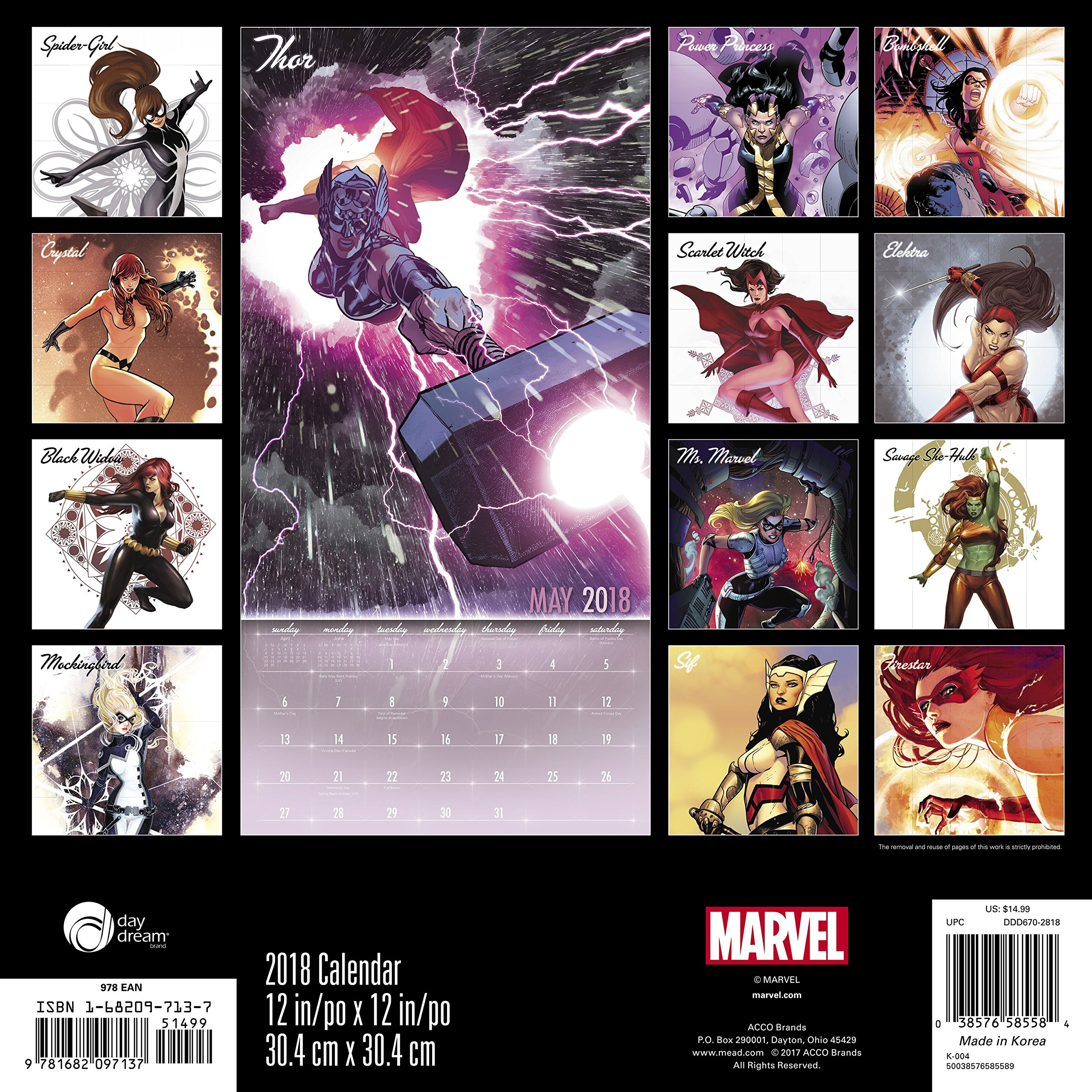 2018 Women of Marvel Wall Calendar (Day Dream): Day Dream