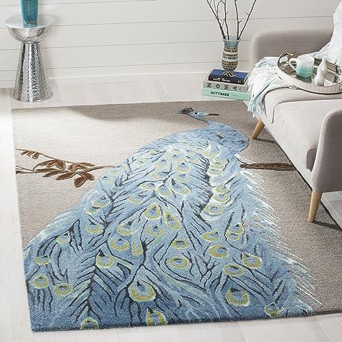 Safavieh Bella Collection BEL809A Handmade Blue and Beige Premium Wool Area Rug 4 x 6