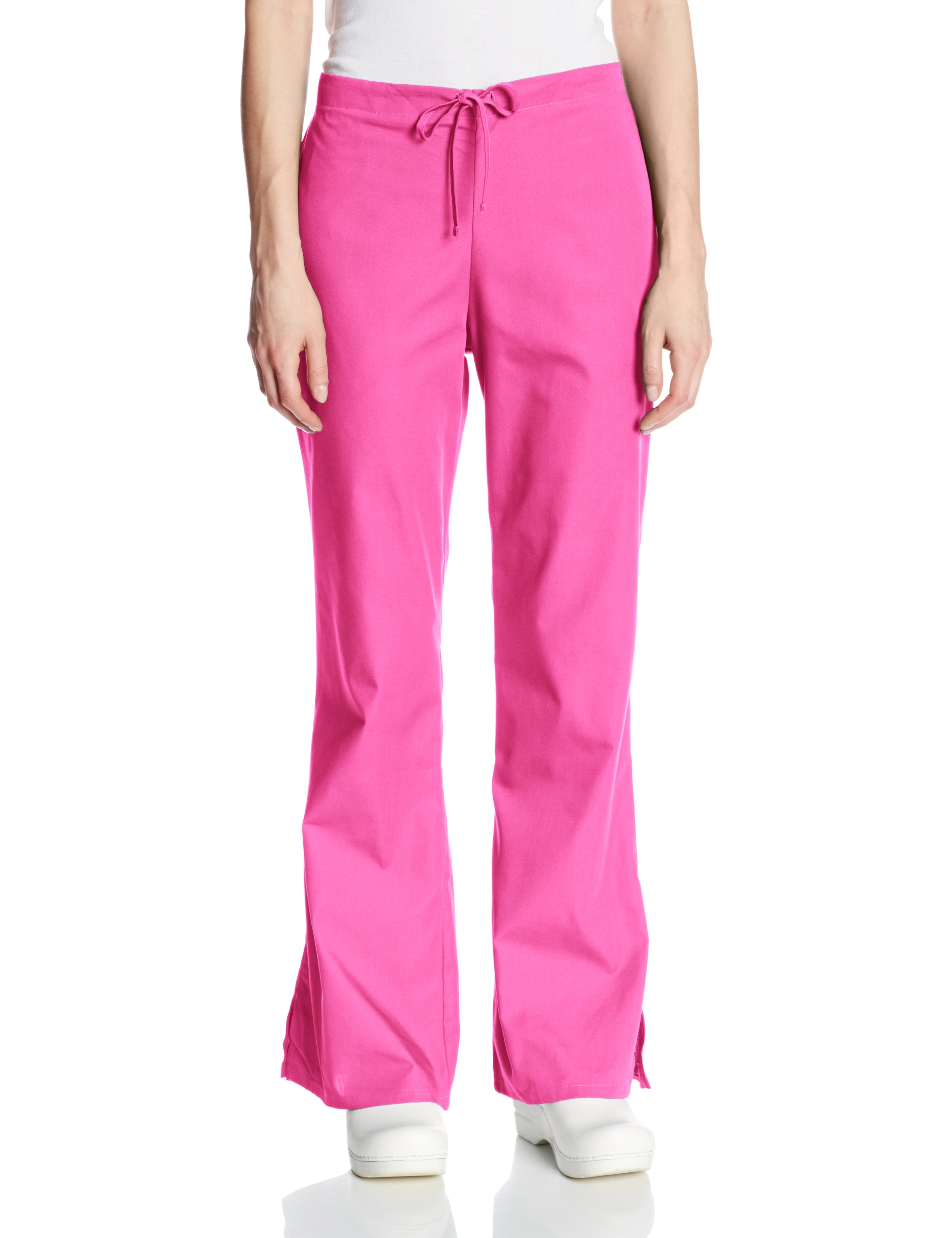 Cherokee Women's Plus Size Flare Leg Drawstring Scrub Pant, Shocking Pink, XXX-Large Tall