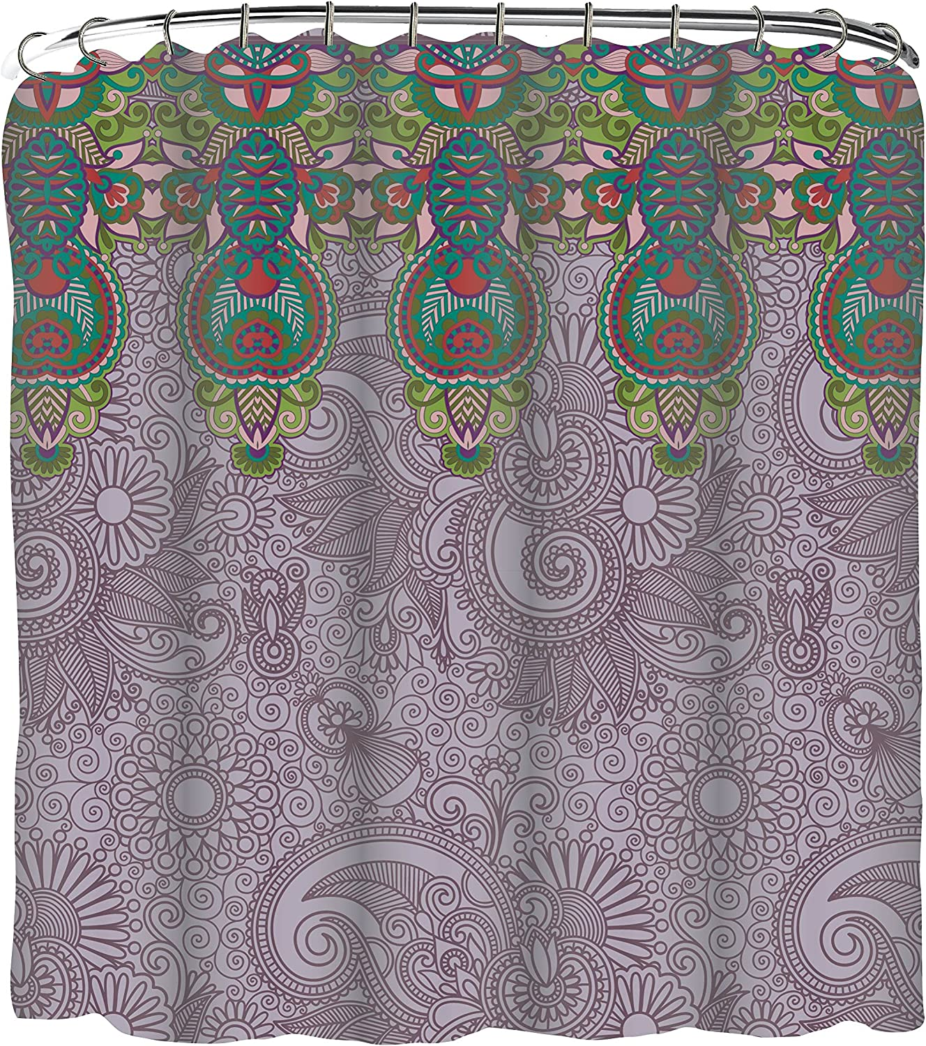 Indecor Home Fabric Lavender Paisleys and Medallions Shower Curtain and Roller Hook Set