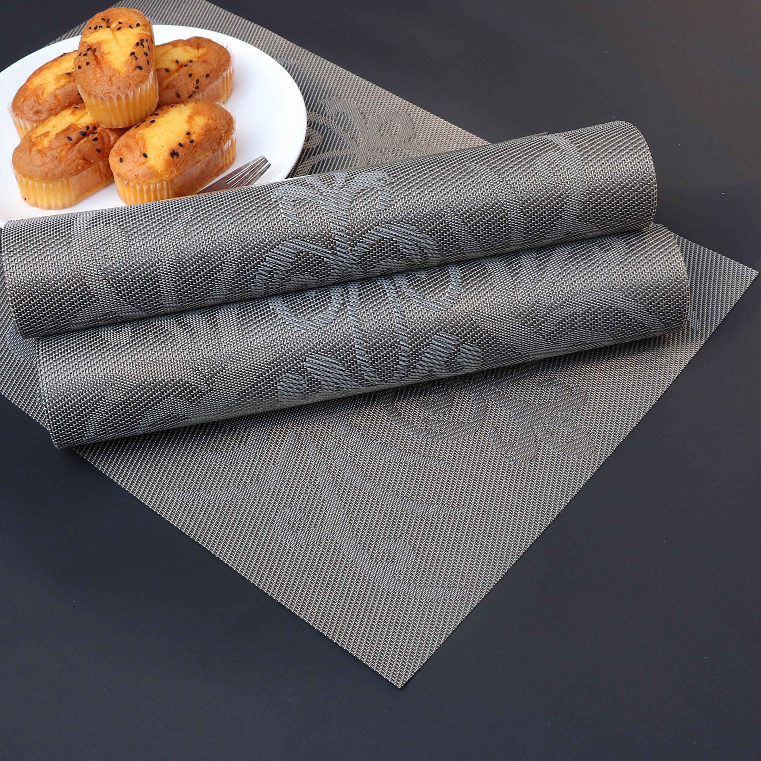 Placemats Set of 6 Heat-resistant Anti-skid PVC Placemat for Dining Table Durable Woven Vinyl Stain Resistant Table Mats Exquisite Pack by PETJAY (Image #6)
