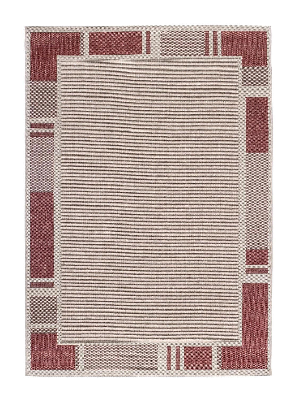Andiamo 1100378 Web Bordürenteppich Flachgewebe Teppich Louisville, 160 x 230 cm, beige Terra