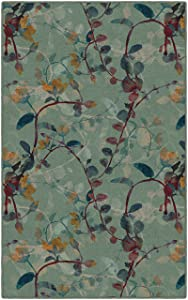 "Brumlow Mills EW10001-40x60 Catalina in Green Floral Area Rug, 3'4"" x 5'"