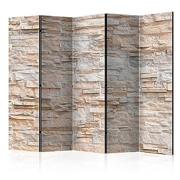 murando Biombo Piedras 225x172 cm de impresión Unilateral en el Lienzo de TNT 100% Opaco - Decoración Cuarto - Biombo de Madera con Imagen Impresa Beige ...