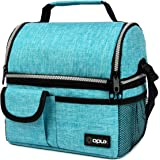 OPUX Insulated Dual Compartment Lunch Bag for Men, Women   Double Deck Reusable Lunch Pail Cooler Bag with Shoulder…