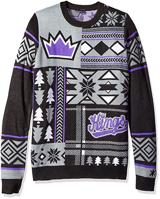 sports shoes d943c 567c3 Sacramento Kings Patches Ugly Crew Neck Sweater Double Extra Large