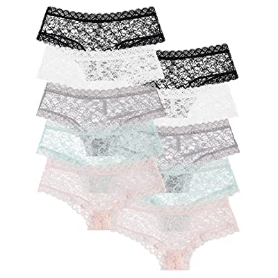 10-Pack: Free to Live Women's Trimmed Sexy Lace Boy Short Panties