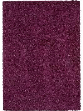 benuta Tapis Shaggy à poils longs/longues mèches Swirls pas cher Mauve  80x150 cm - 100% Polypropylène - Uni - Tissé à la machine - Salon