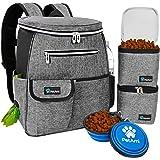 PetAmi Dog Travel Bag Backpack   Backpack Organizer with Poop Bag Dispenser, Multi-Function Pocket, Food Container Bag, Colla