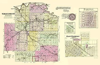 Old Kansas Map.Amazon Com Old County Map Wabaunsee Kansas Everts 1887 23 X