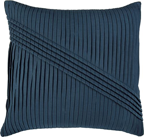 Rizzy Home T06788 Pleats with Corded Gathering Details Decorative Pillow, 22 by 22-Inch, Peacock Blue