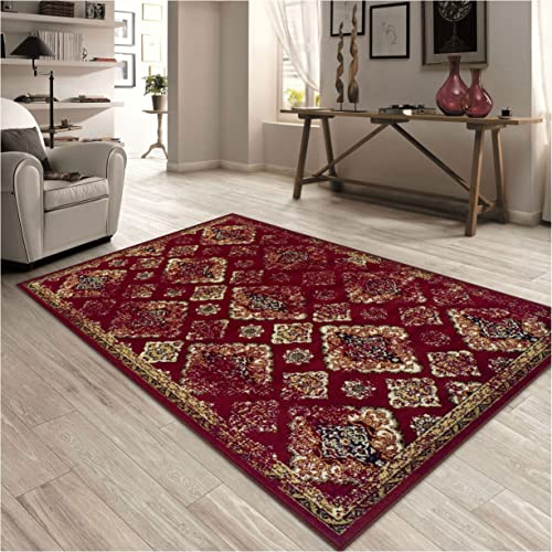 Superior Mayfair Collection Area Rug, 8mm Pile Height with Jute Backing, Vintage Distressed Medallion Pattern, Fashionable and Affordable Woven Rugs – 5 x 8 Rug, Red