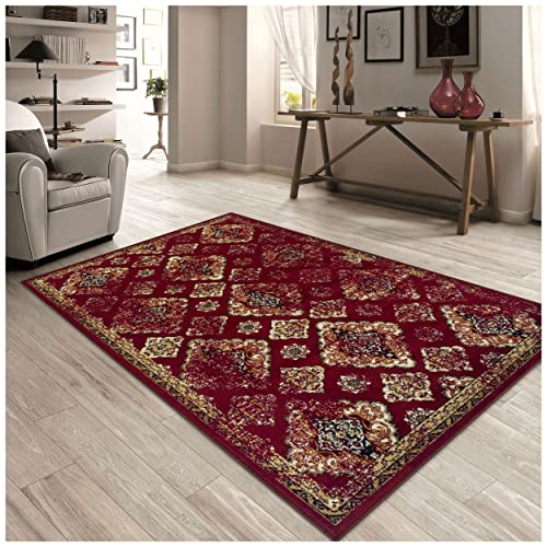 Superior Mayfair Collection Area Rug, 8mm Pile Height with Jute Backing, Vintage Distressed Medallion Pattern, Fashionable and Affordable Woven Rugs – 4 x 6 Rug, Red