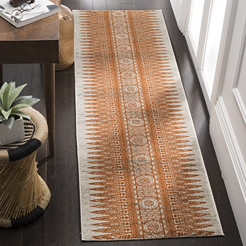 Safavieh Evoke Collection Ivory and Orange Runner, 2 2 x 9