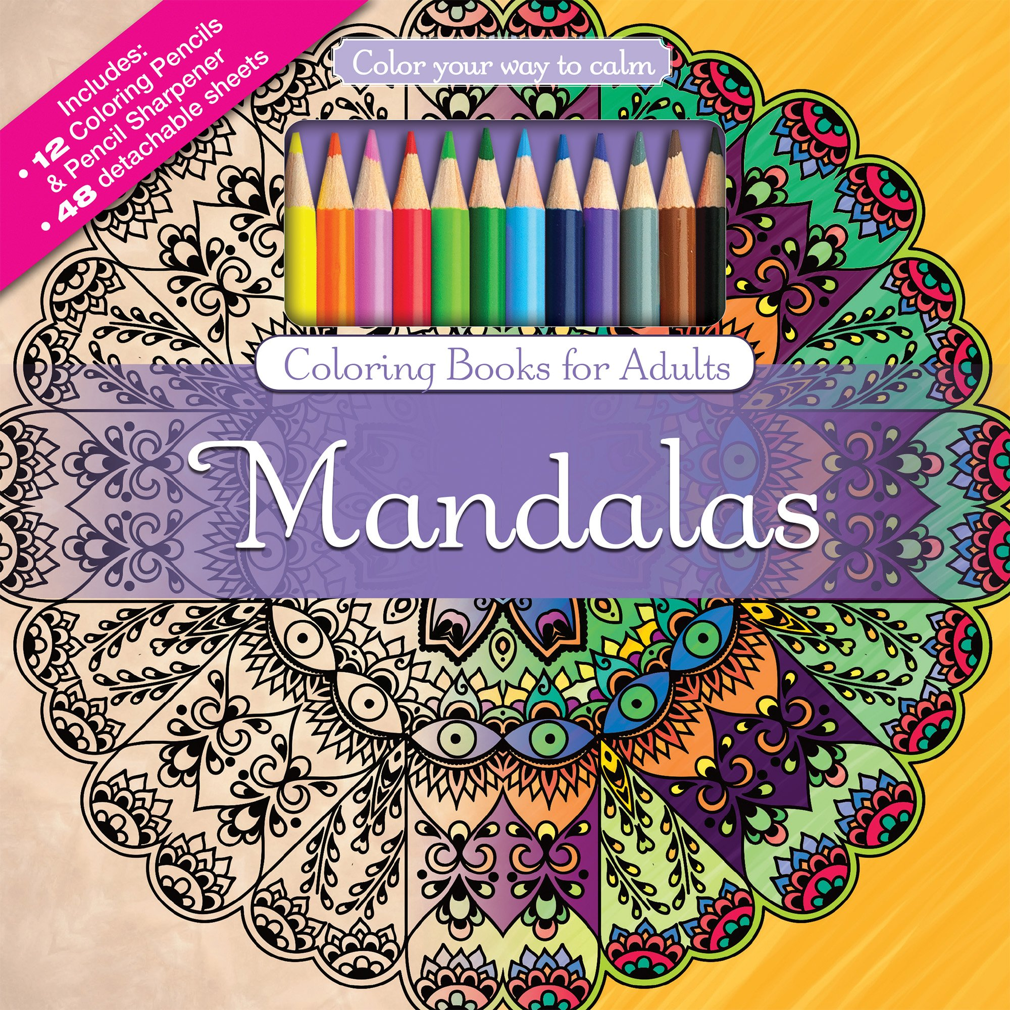 amazoncom mandalas adult coloring book set with 24 colored pencils and pencil sharpener included color your way to calm 9781988137254 newbourne media