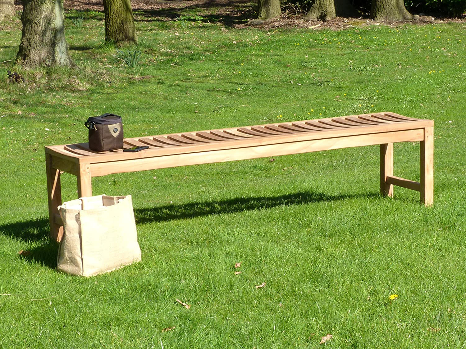 Backless Teak Wooden Garden Bench Solid Outdoor Sports Club Patio Seating Option - Choice Of Sizes (120) Sloane & Sons