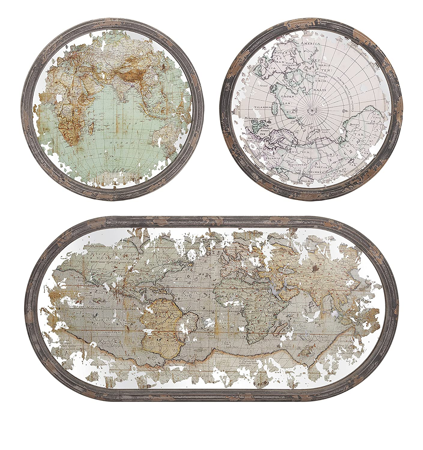 Amazon.com: IMAX 65249 3 Mirrored Map Wall Decor, Set Of 3: Home U0026 Kitchen