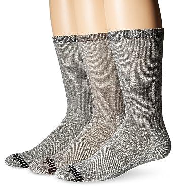 cfe1a12068052 Timberland Men's 3 Pack Heavy Weight Merino Wool Crew Sock, Black/Bark, 10