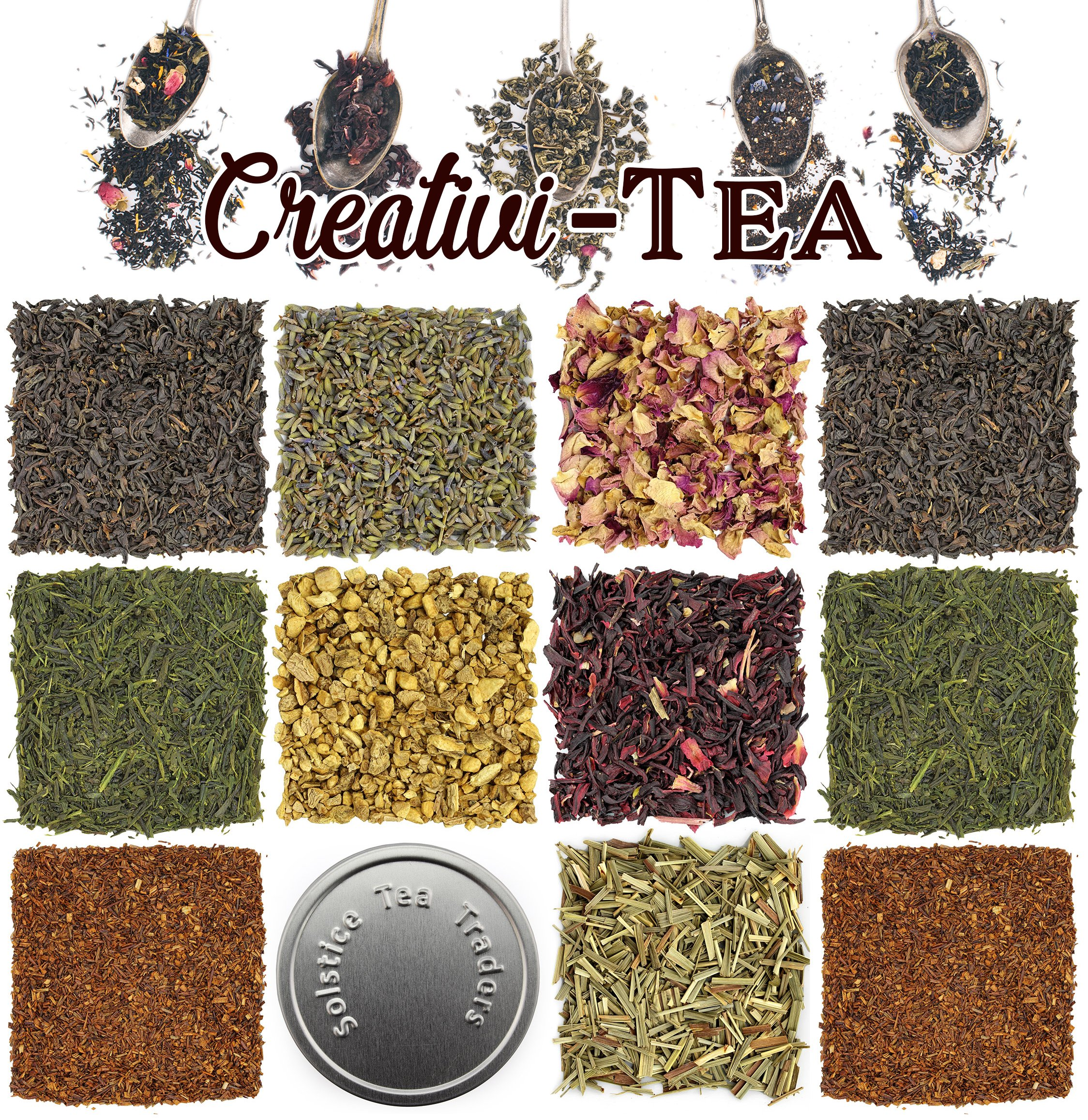 Loose Leaf Tea Sampler Gift Set Assortment - Create Your Own Tea Blend Starter Kit w/Sencha, Rooibos, China Black, Ginger, Lavender, Rose, Lemongrass, Hibiscus Spices Approx 75+ Cups