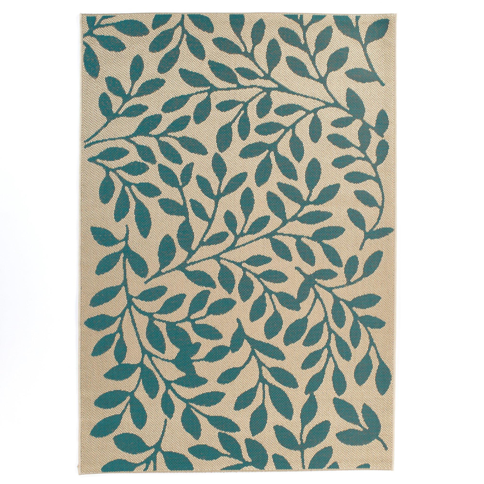 Carpet Art Deco Bellaire Collection Indoor Outdoor Rug, 5'3'' x7'5, Green/Beige