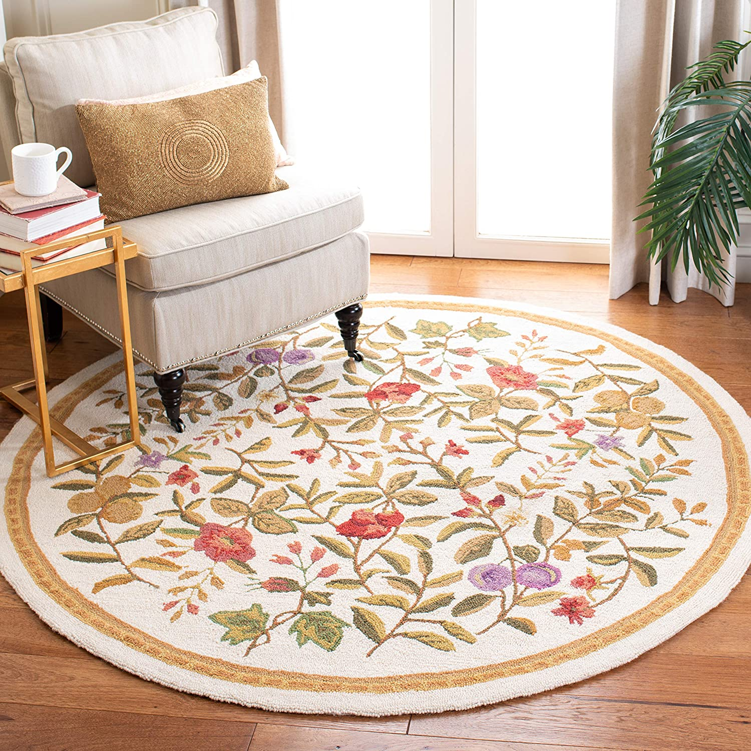 Safavieh Chelsea Collection HK210A Hand-Hooked Ivory Premium Wool Round Area Rug (3' Diameter)