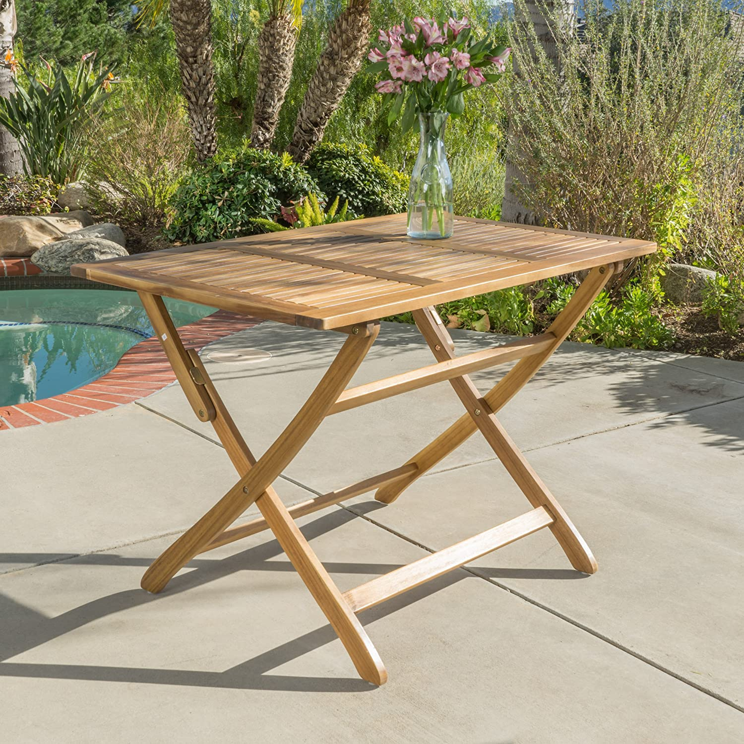 Amazon com st nevis acacia wood outdoor foldable dining table perfect for patio with natural finish garden outdoor