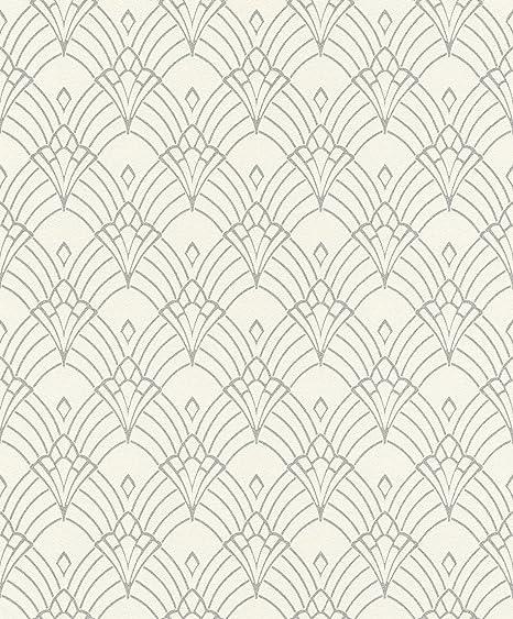 Modern Art Art Deco Astoria Wallpaper Whitesilver Rasch 433937