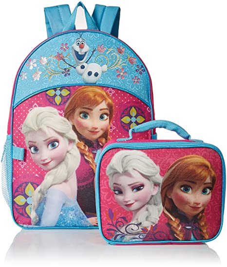 Disney Girls Frozen Elsa & Anna Backpack with Detachable Lunch Bag, Hot Pink/