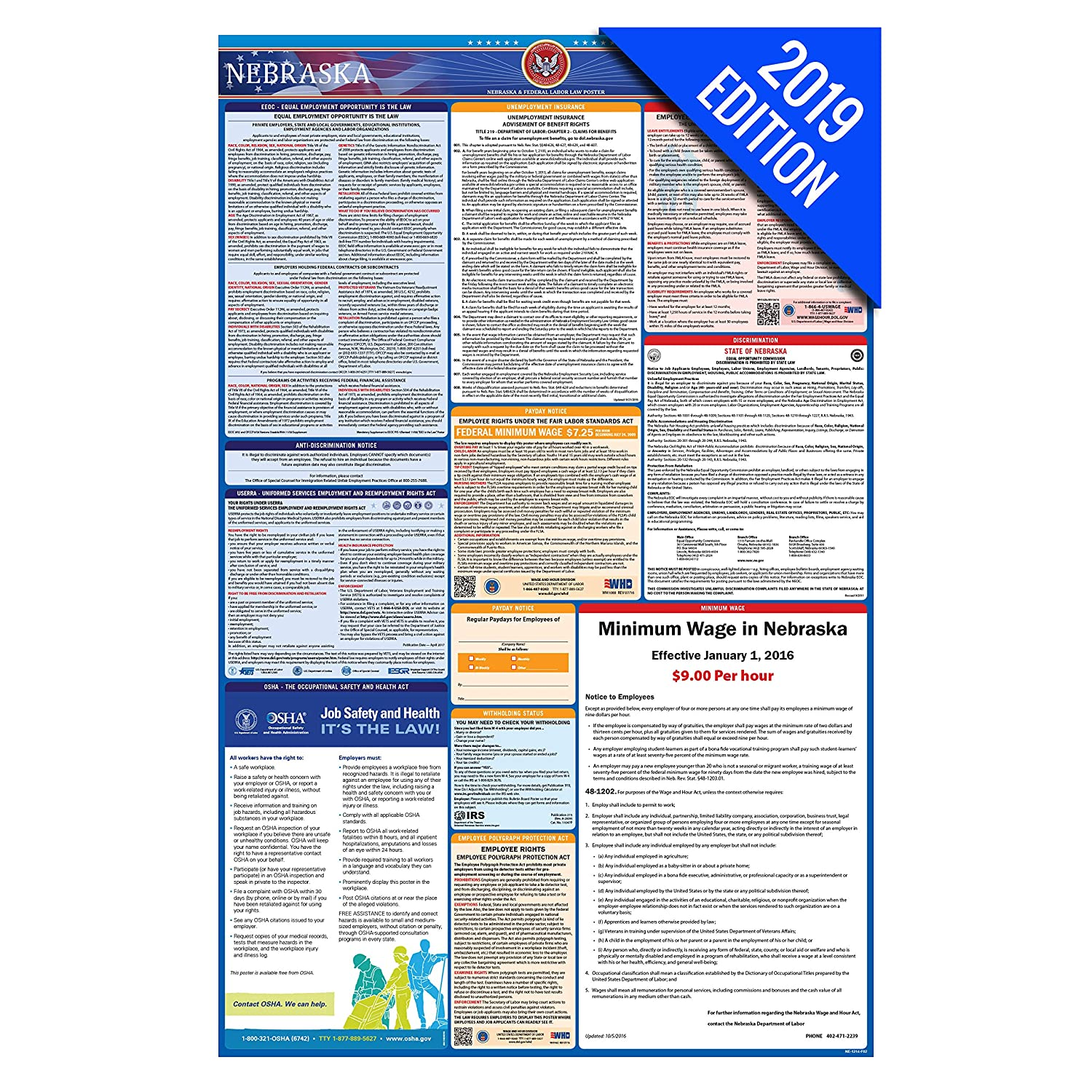 2019 Nebraska Labor Law Poster – State, Federal, OSHA Compliant – Laminated  Mandatory All in One Poster