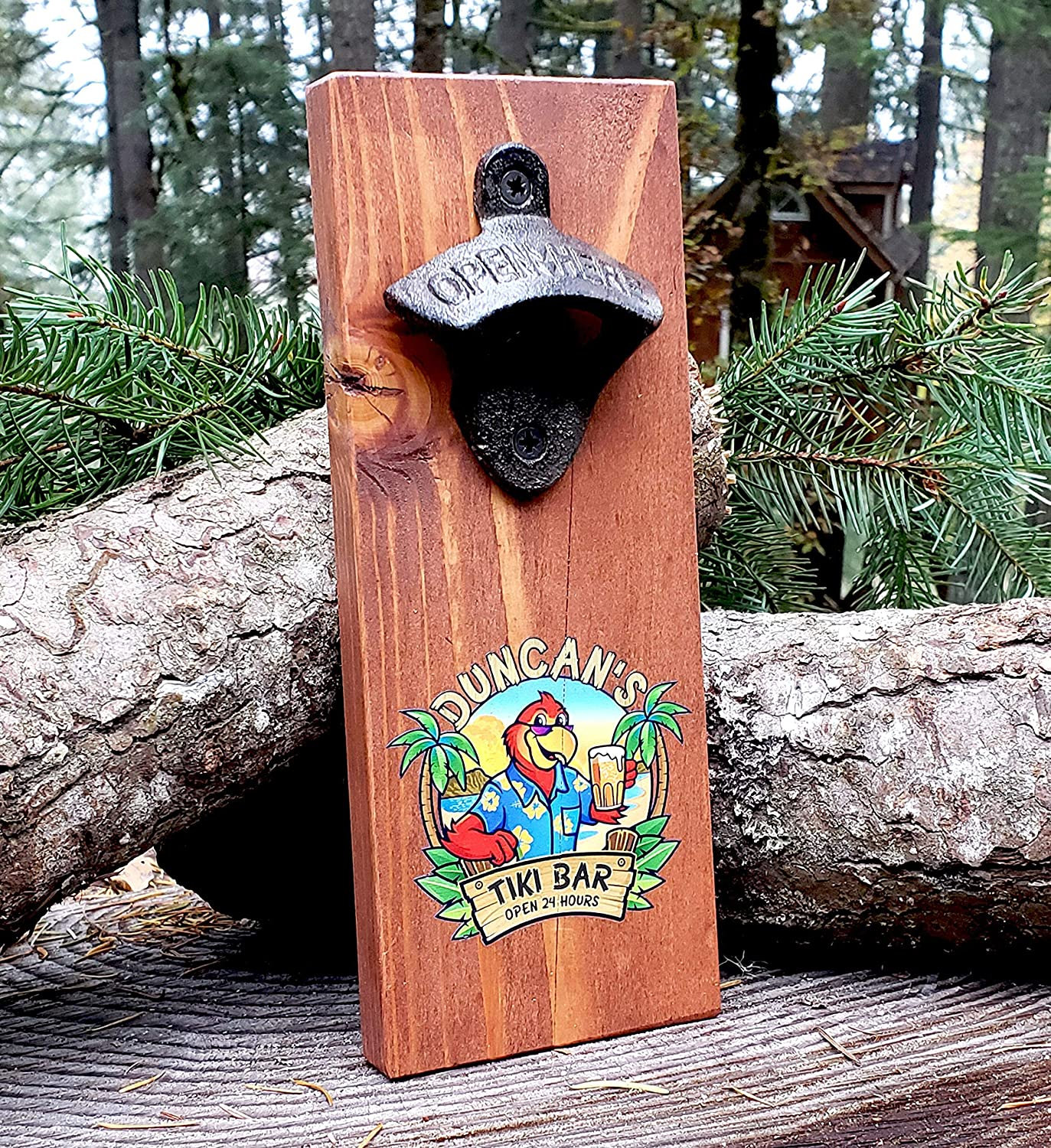 Personalized Wooden Wall Mount Bottle Opener-Tiki Bar Edition