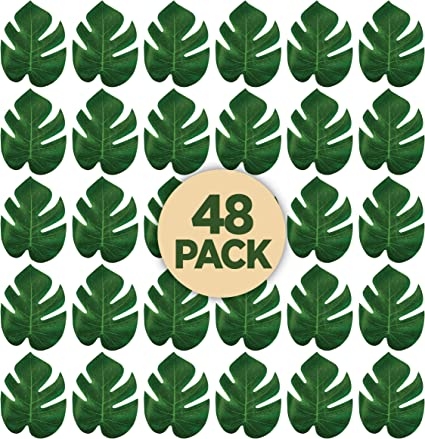 Table Runners or Greenery D/écor for Events Prextex 48 Artificial Palm Leaves for Party Table Decoration 48 Pieces, 6 x 5 Inch Imitation Tropical Leaf Placemats Beach Theme or Jungle Party Supply