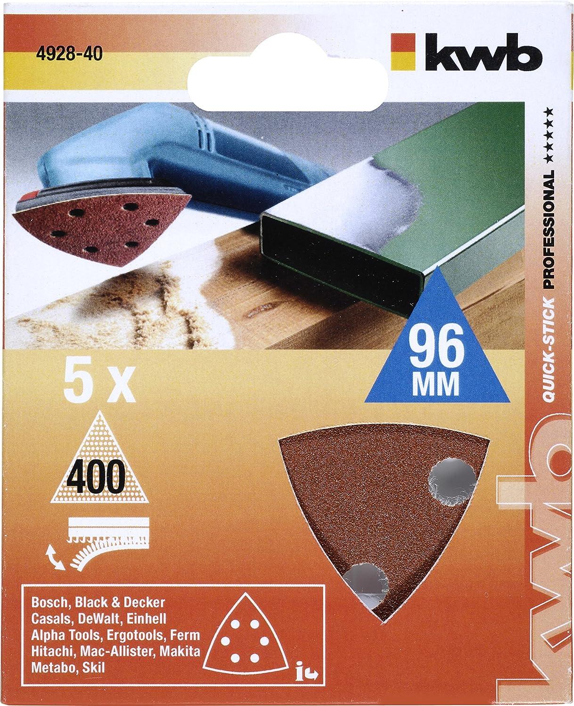 Edelkorund, f/ür Holz und Metall, 5 St/ück kwb Quick-Stick Klett-Schleifdreiecke 2x K40 1x K120 2x K240 f/ür 93 mm Deltaschleifer 492800