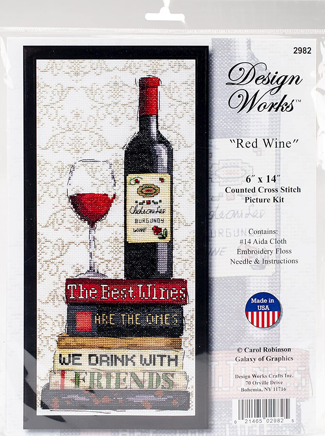 Design Works Counted Cross Stitch Kit 6 x 14 ~ RED WINE #2982