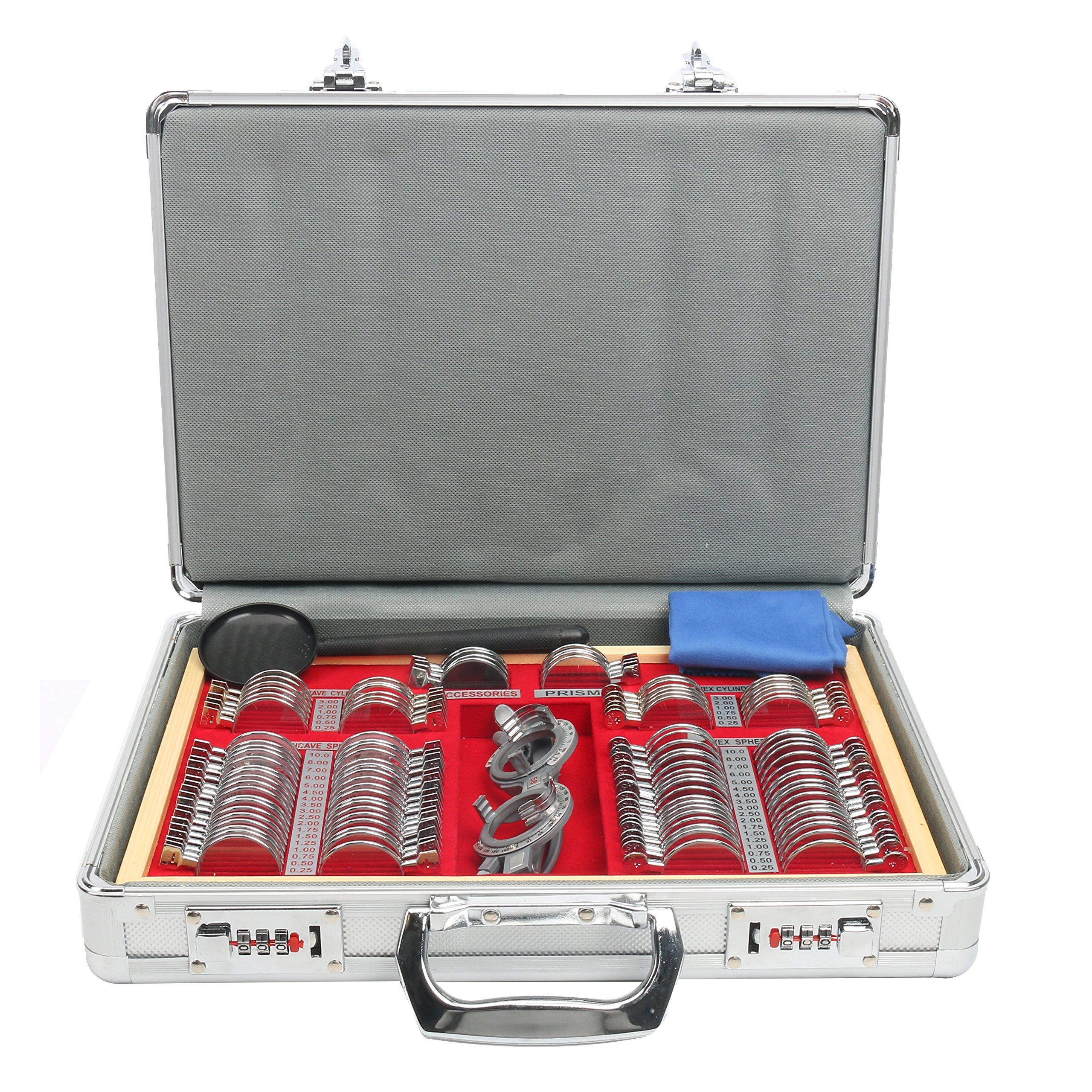 YaeTek Optical Lens Optometry Rim Case Kit Set w/ Free Optometry Test Trial Frame (104 PCS)
