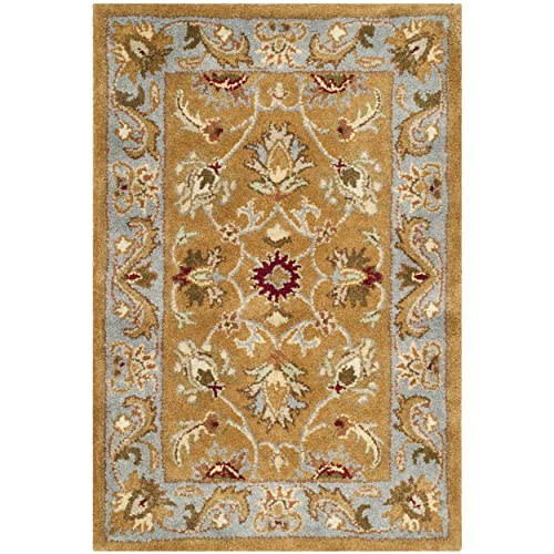 Safavieh Heritage Collection HG812A Handcrafted Traditional Oriental Brown and Blue Wool Area Rug 2 3 x 4
