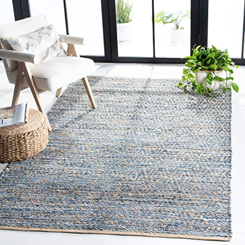 Safavieh Cape Cod Collection CAP351A Hand Woven Flatweave Geometric Diamond Natural and Blue Jute Area Rug 8' x 10'