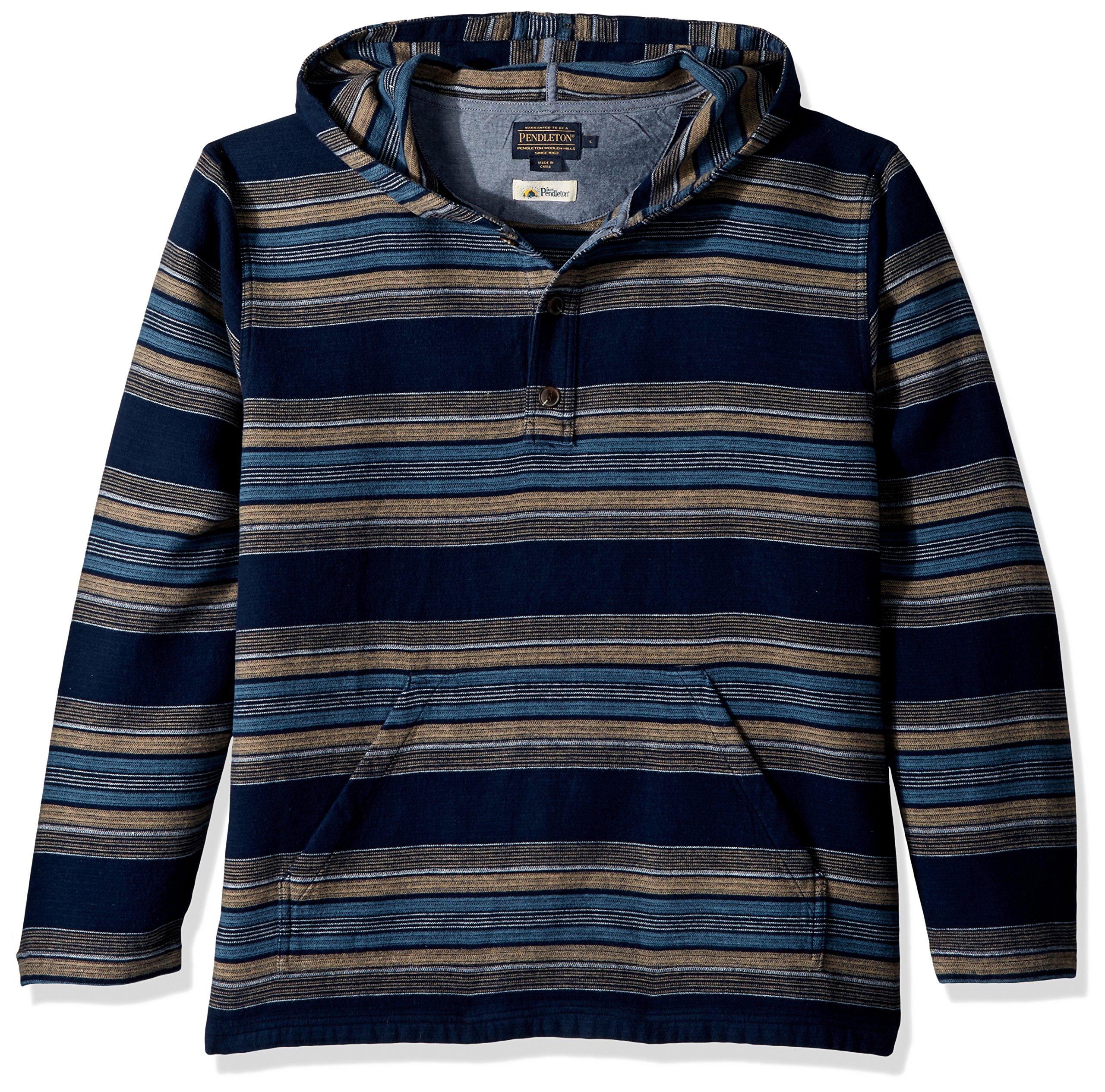 Pendleton Men's Serape Stripe Popover Hoody, Navy Stripe, XL