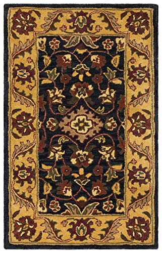 Safavieh Golden Jaipur Collection GJ250D Handmade Black and Gold Premium Wool Area Rug 2 x 3