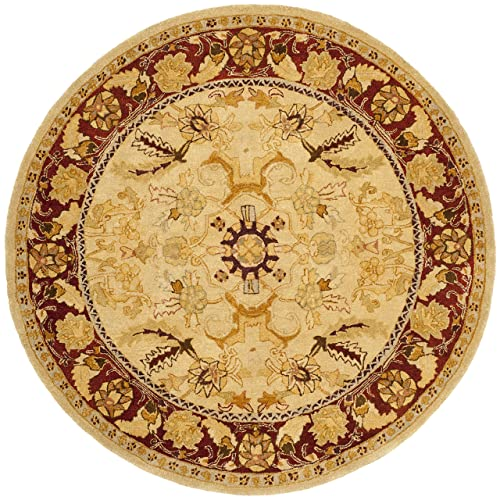 Safavieh Taj Mahal Collection TJM121A Handmade Traditional Sage and Red Wool Round Area Rug 6 Diameter