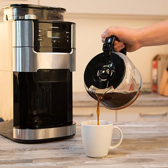 Ultratec Cafetera automática con molinillo y función de temporizador, cafetera automática, cafetera, incl. jarra de cristal y filtro permanente, acero ...